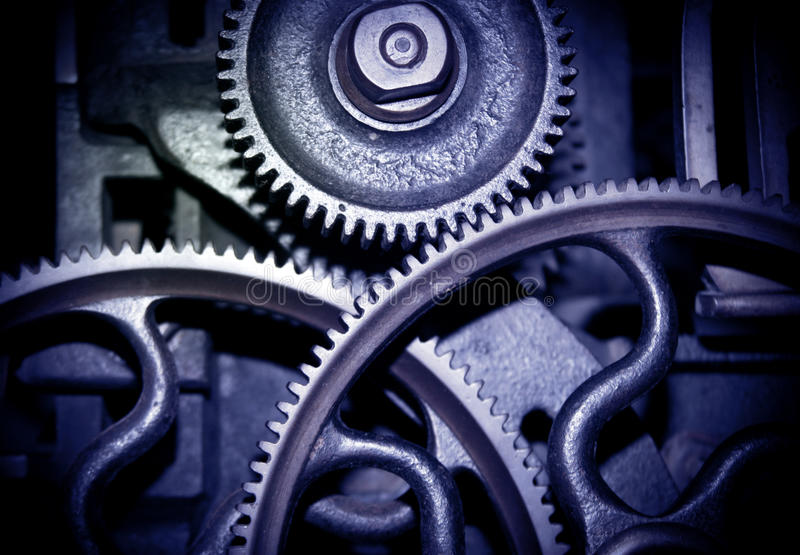 Blue cogs stock images