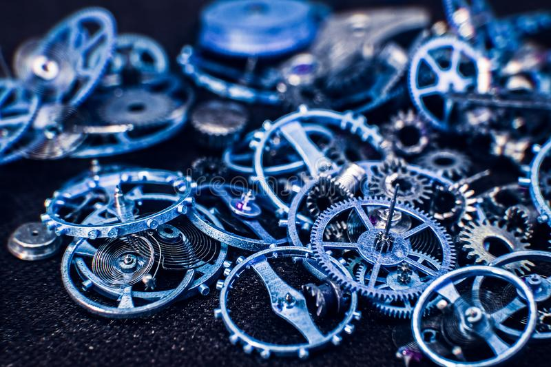 Blue cogs gears wheels collection set royalty free stock photos