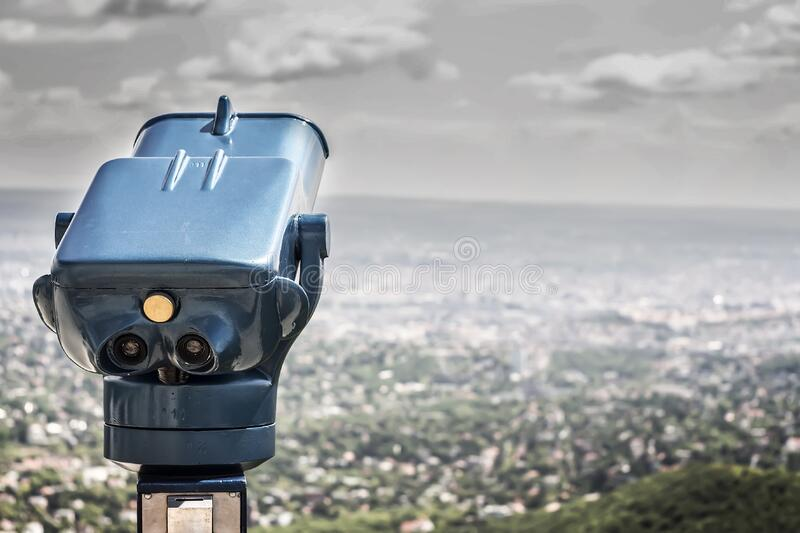 Blue Coin Operated Binocular With City View During Daytime Free Public Domain Cc0 Image