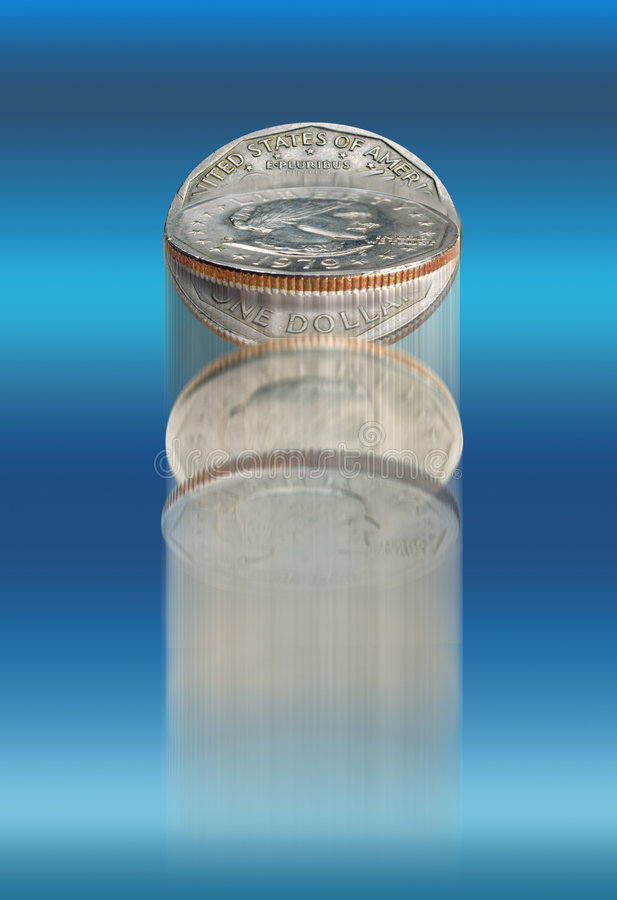 Blue Coin Toss Royalty Free Stock Photography