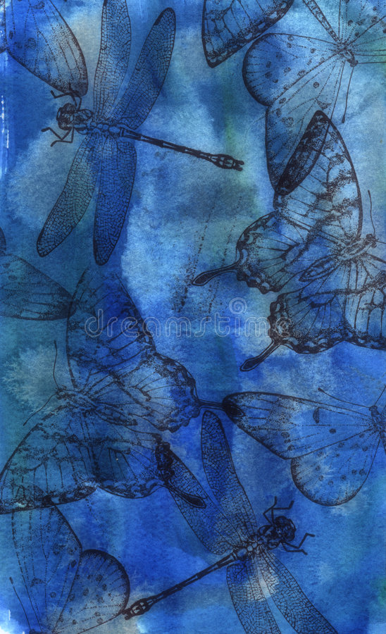 Download Blue Collage stock illustration. Image of dragonfly, background - 345200
