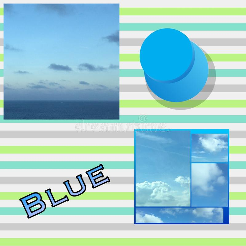 Blue Collage. A collage of various shades of blue oceans, skies, and much more vector illustration