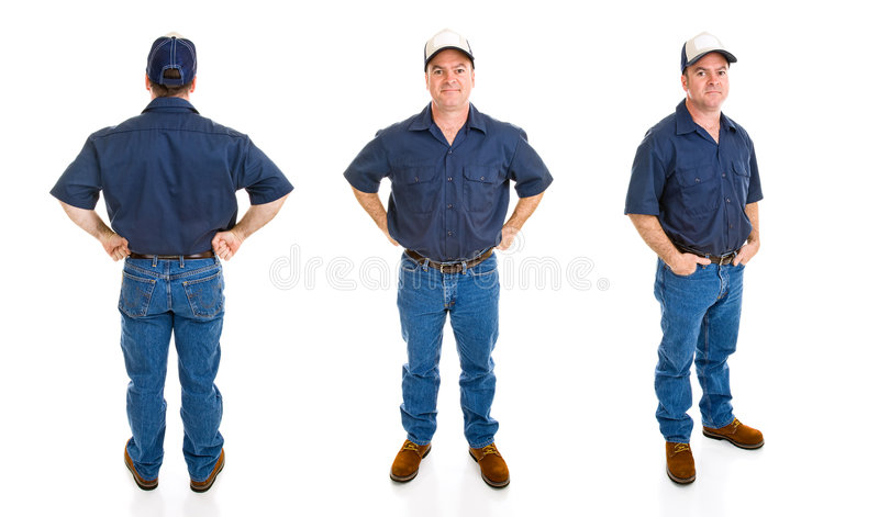 Blue Collar Man - Three Perspectives. Blue collar worker. Three full body views with different perspectives and expression, isolated on white background stock images