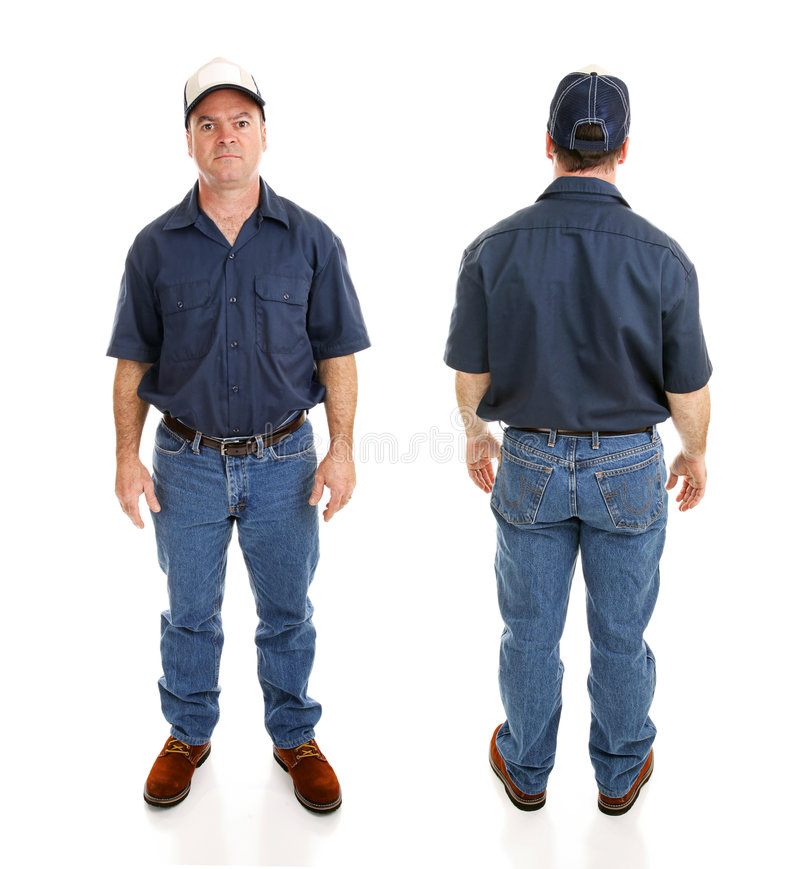 Download Blue Collar Man Two Views stock photo. Image of front - 6990214