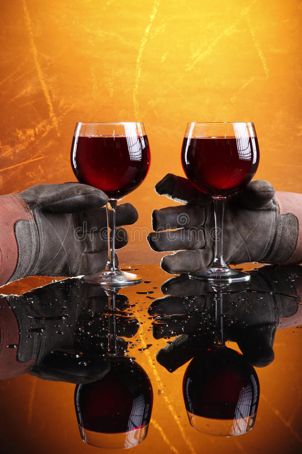 Blue collar wine royalty free stock images