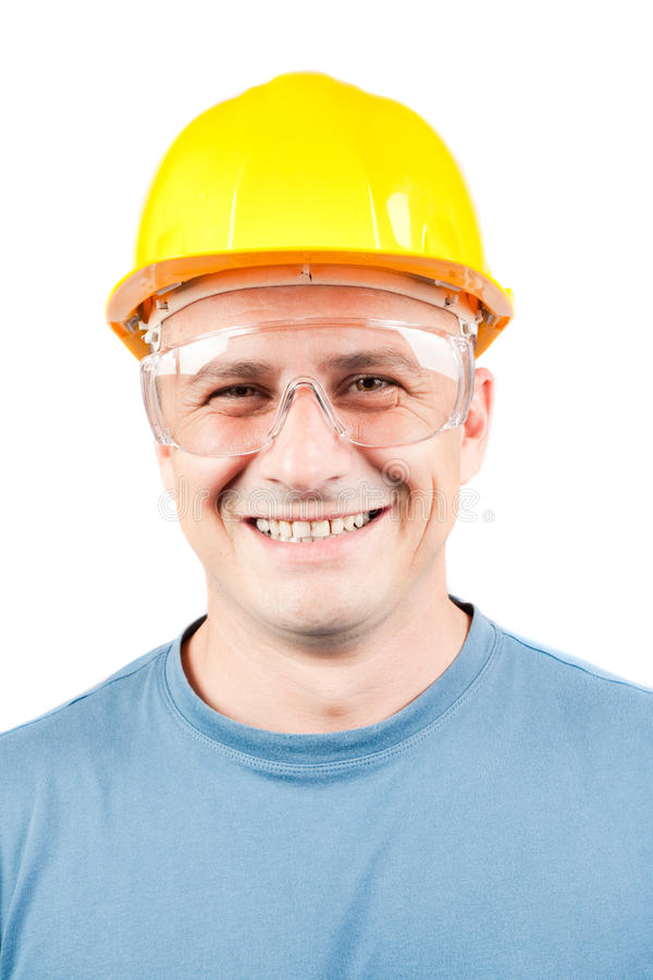 Blue collar worker. With yellow helmet, isolated on white background royalty free stock photos