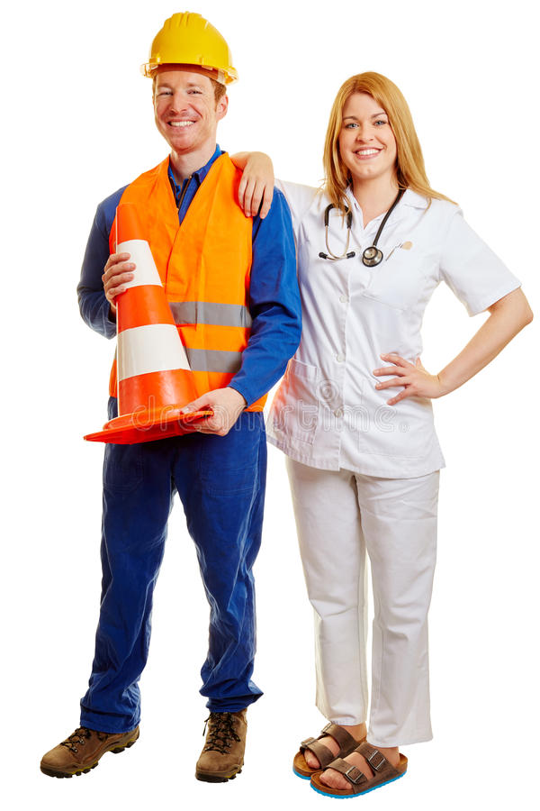 Blue collar worker and a doctor royalty free stock photography