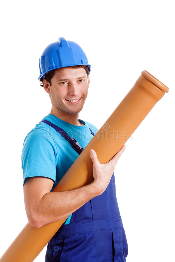 Blue collar worker with pipe. Blue collar worker with plastic pipe, isolated background stock photography