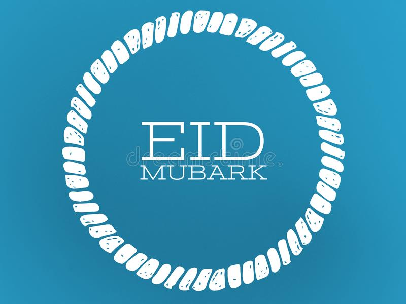 Blue color background in the white circle wishing eid Mubarak. Blue color background inbthe white circle wishing eid mubarak text font letter word typography royalty free illustration