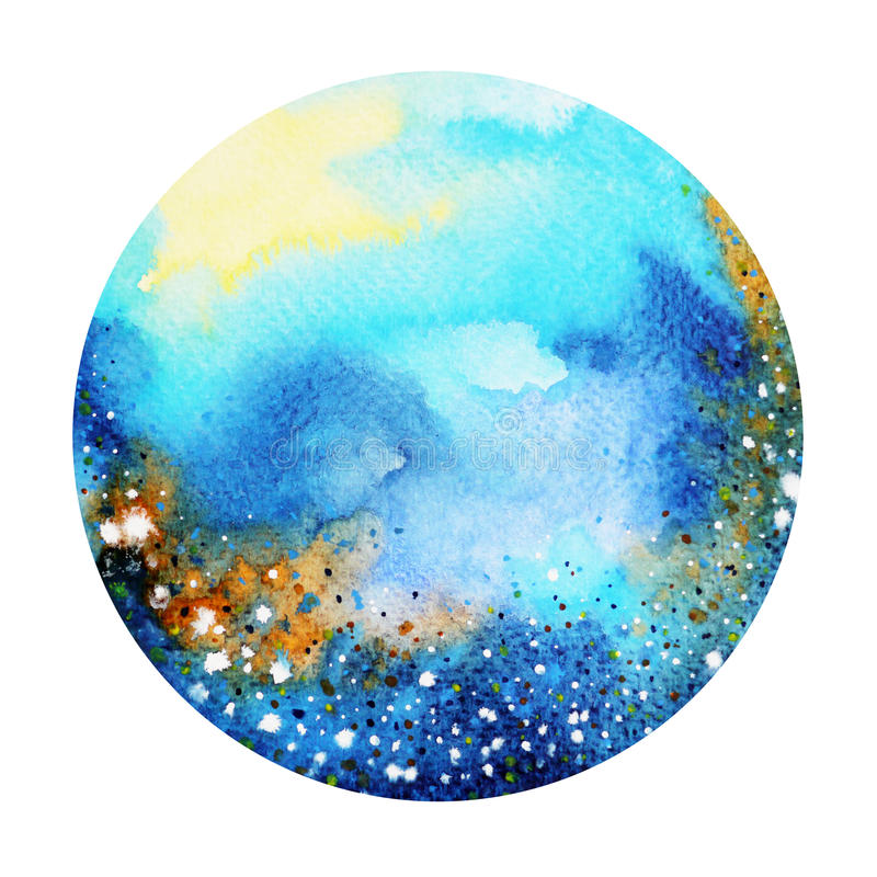Blue color colorful world, universe watercolor painting background royalty free illustration