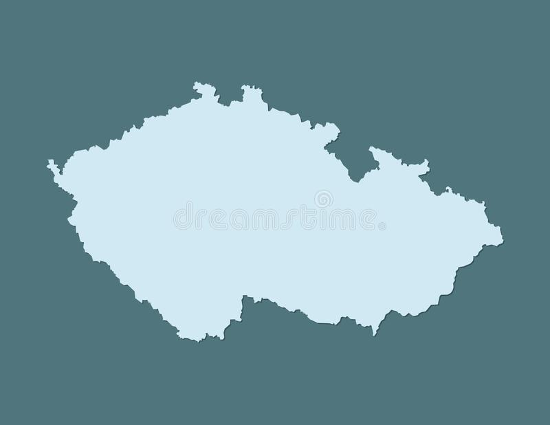 Blue color Czech Republic map vector with single border on dark background stock illustration