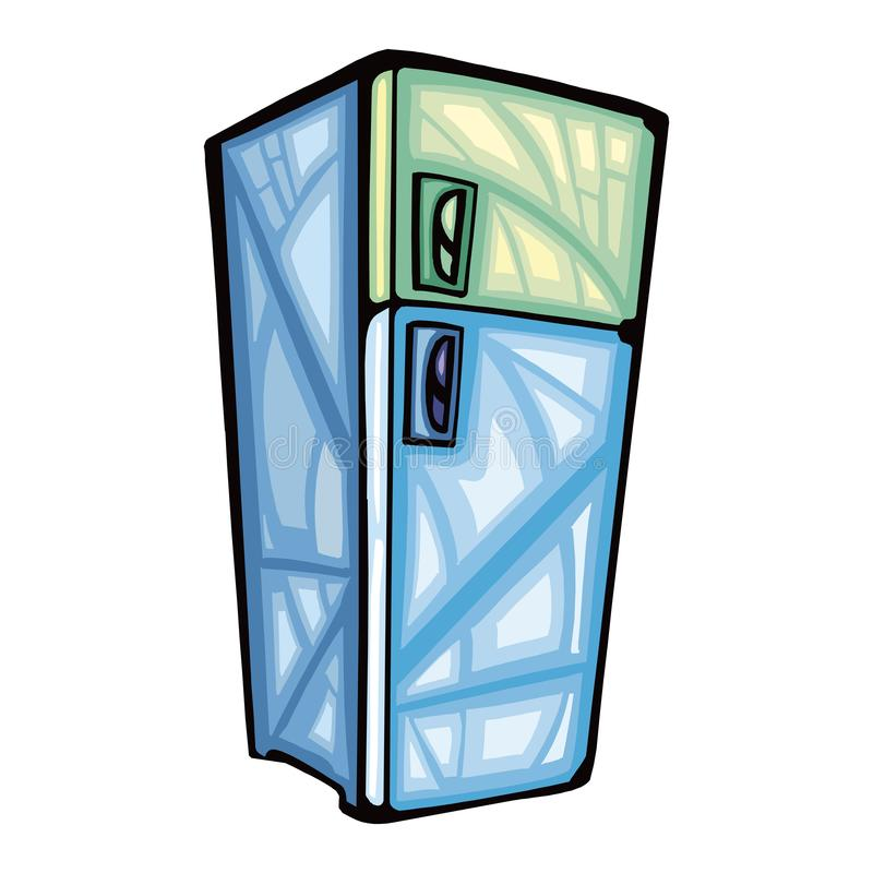 A blue color double door refrigerator with design on top stock illustration