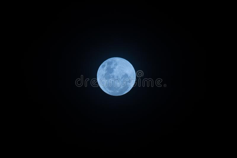 Blue color effect on super moon at night. On first day of jan-18 royalty free stock photography