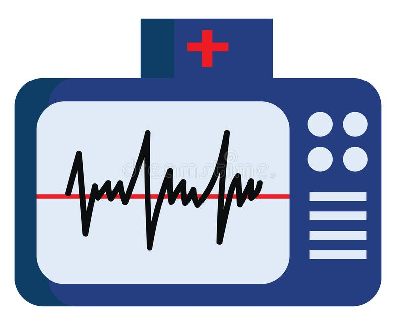 Blue color electrocardiogram with normal ECG vector or color illustration. Blue color electrocardiogram with buttons on the side depicting ECG waves vector color vector illustration