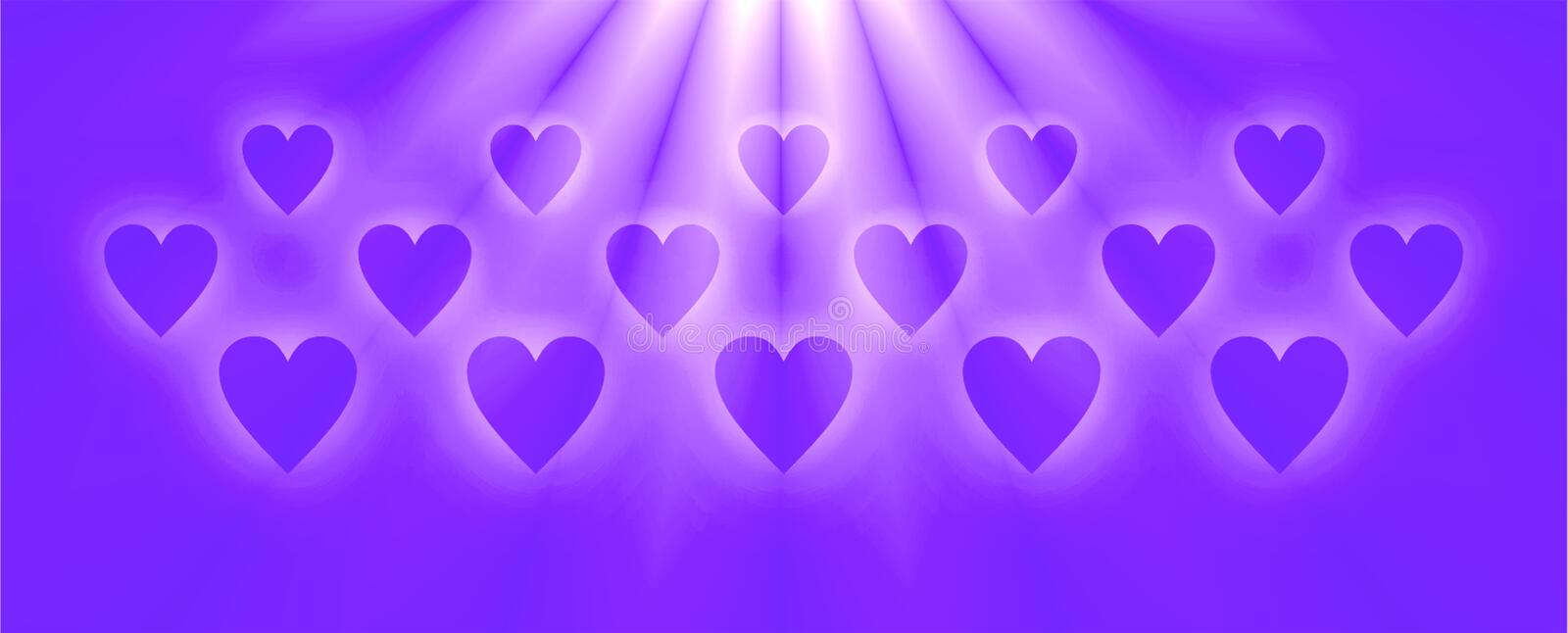 Blue color hearts in rays of light effect , background image and wallpaper design. Useful for many purpose like , printing , screen savers , festivals greetings vector illustration