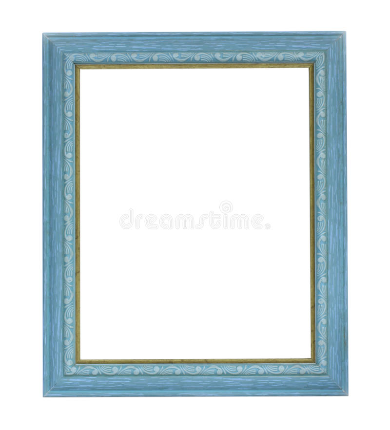 Blue color picture frame. On white background stock image