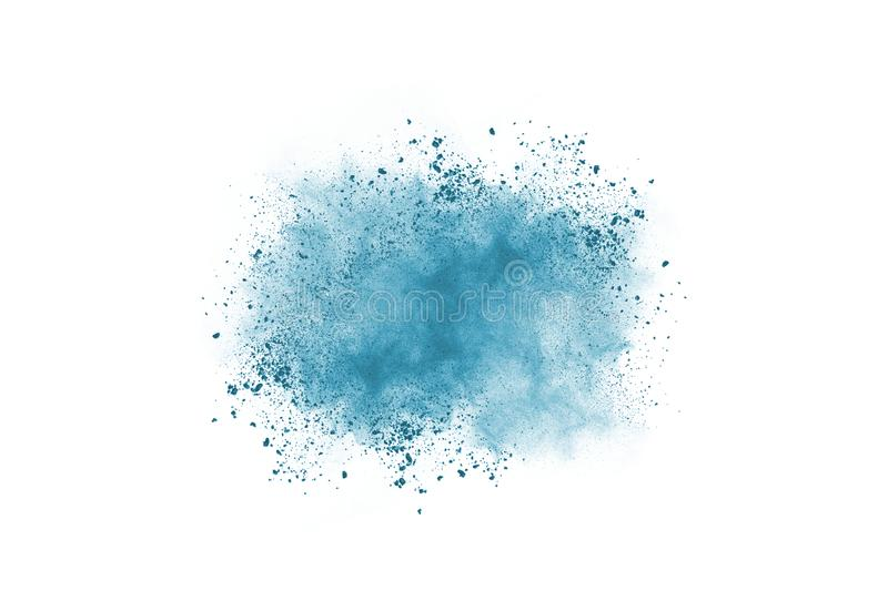 Blue color powder explosion on white background. Colored cloud. Colorful dust explode. Paint Holi royalty free stock photos