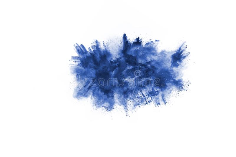 Blue color powder explosion on white background. Colored cloud. Colorful dust explode. Paint Holi stock photo