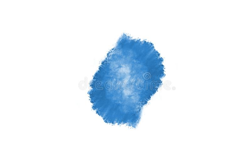 Blue color powder explosion on white background. Colored cloud. Colorful dust explode. Paint Holi stock images