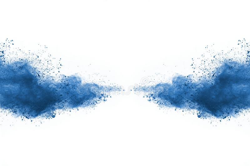 Blue color powder explosion on white background. Colored cloud. Colorful dust explode. Paint Holi royalty free stock photography
