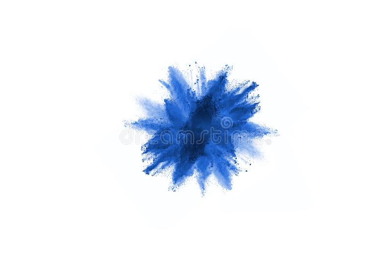 Blue color powder explosion on white background. Colored cloud. Colorful dust explode. Paint Holi stock photography