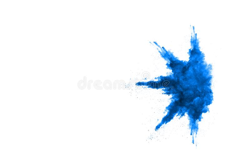 Blue powder explosion on white background. Colored cloud. royalty free stock images