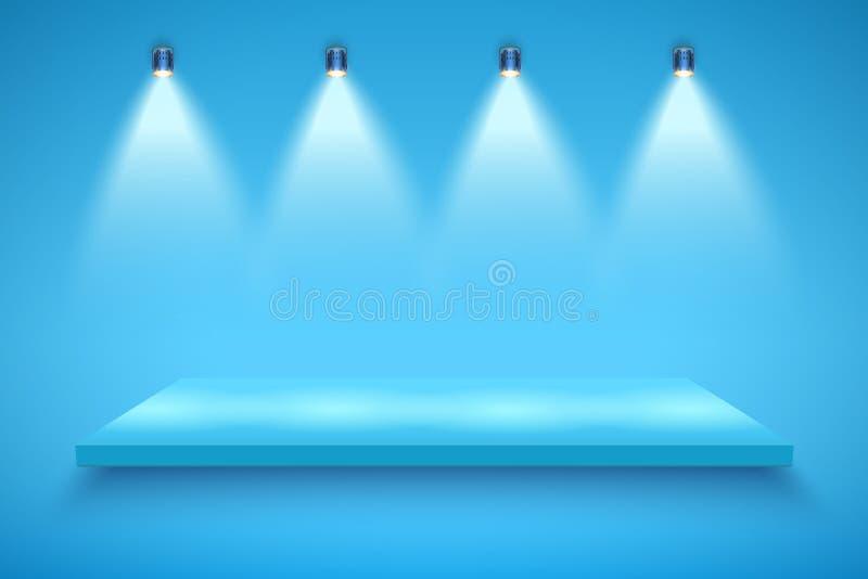 Blue color Presentation platform royalty free illustration