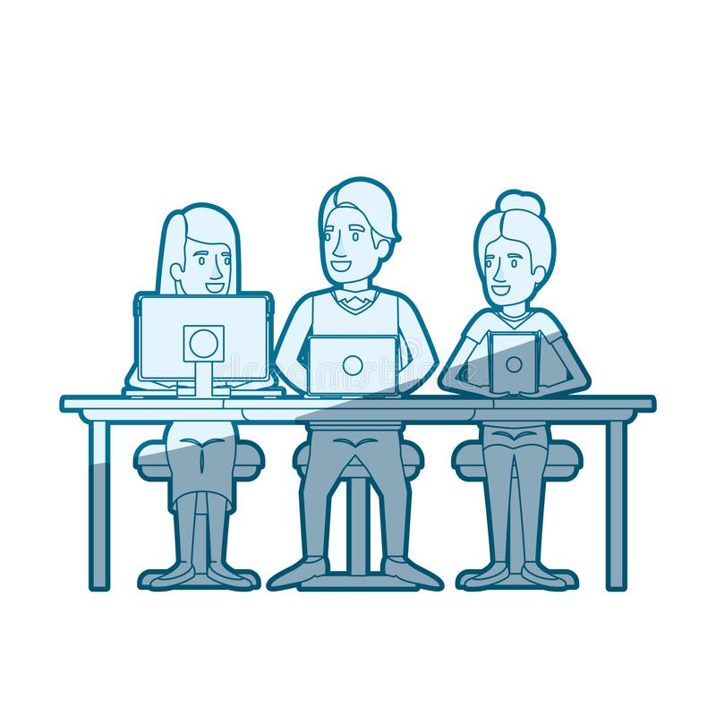 Blue color silhouette shading of teamwork sitting in desk with tech devices. Vector illustration stock illustration