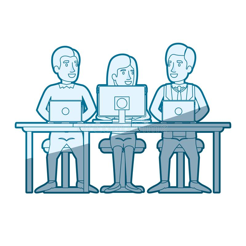 Blue color silhouette shading of teamwork of woman and men sitting in desk with tech devices. Vector illustration vector illustration