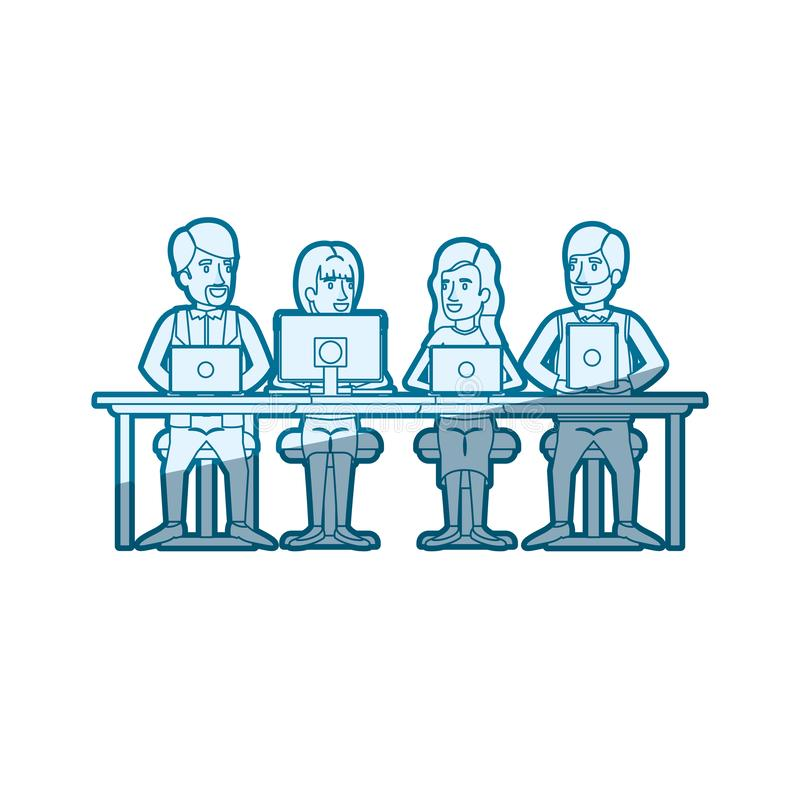 Blue color silhouette shading of teamwork of women and men sitting in desk with tech devices. Vector illustration royalty free illustration