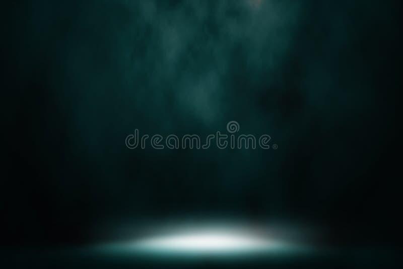 Blue color spotlight smoke. stock images