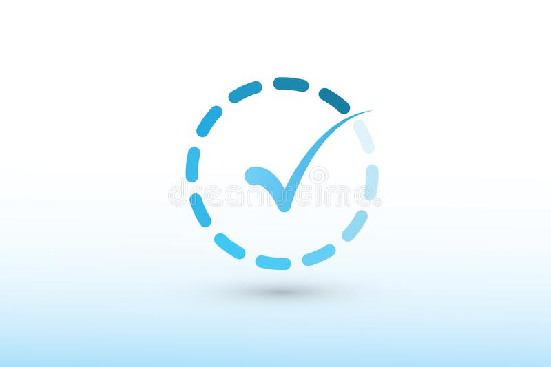 A blue color tick mark or sign inside dashed circle vector illustration on white background to show correct answer and approval stock illustration