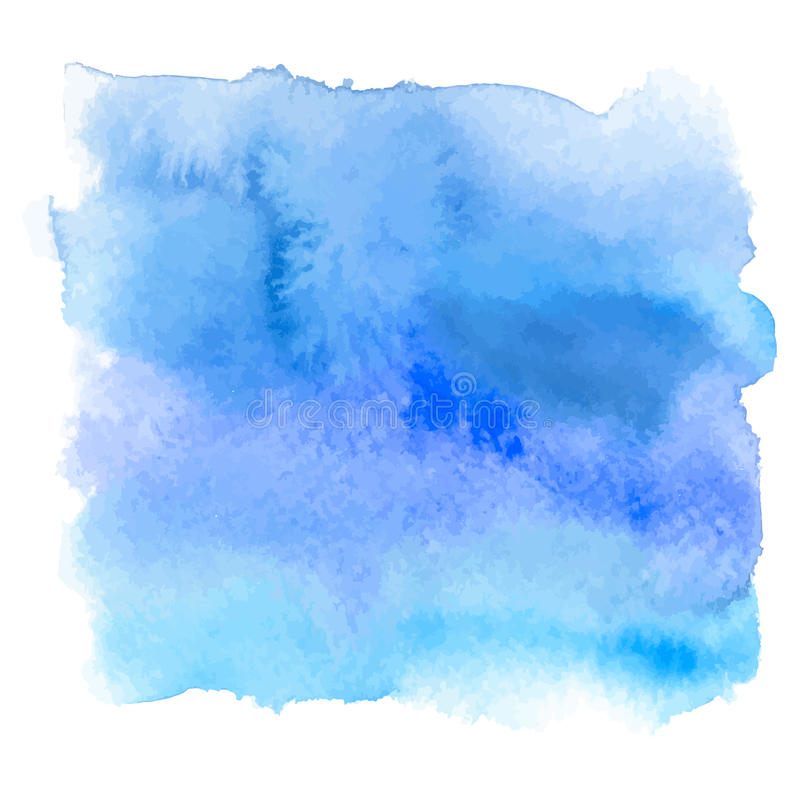 Blue color watercolor hand drawn gradient banner. Paint wash stock illustration