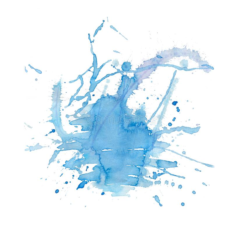 Blue color watercolor splash blot.abstract hand drawn watercolor blot background.Modern creative watercolor background for trendy. Blue color watercolor splash royalty free illustration