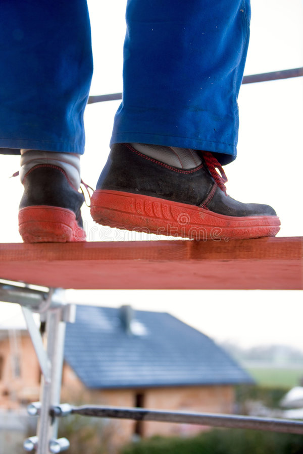 Download Blue Color Worker On A Scaffolding Stock Image - Image: 8520123