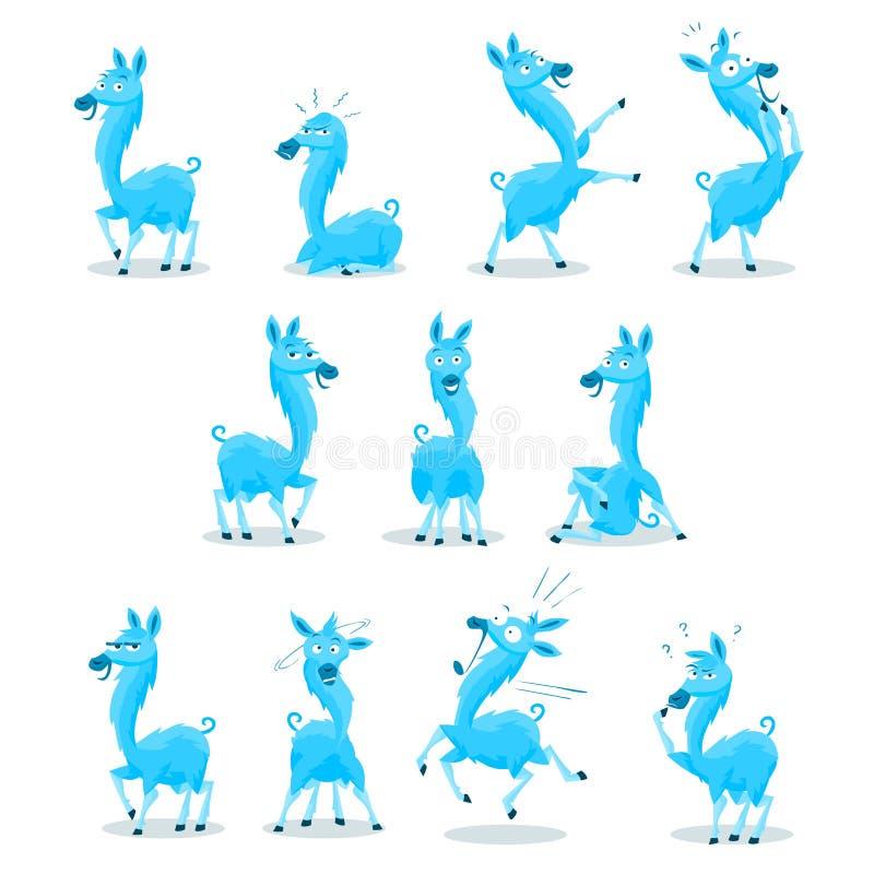 Blue Llama vector illustration