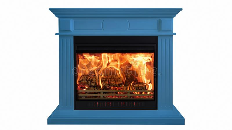 Blue colorful burning classic fireplace isolated on white background royalty free stock photo