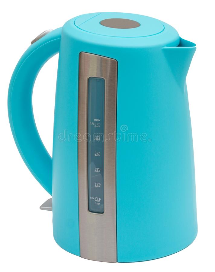 Blue Colorful Water heater electric Tea kettle isolated on white. Blue color Water heater electric Tea kettle isolated on white background stock image