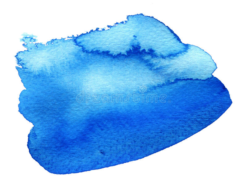 Blue colorful watercolor hand drawn stroke stock illustration