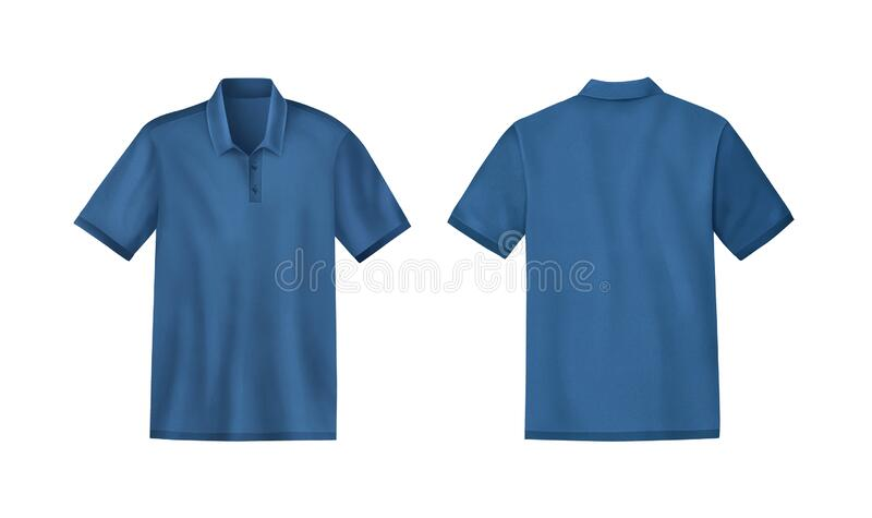 Blue colour mens t-shirt template mockup, Front and back, Realistic illustration isolated on white background.  V. Blue colour men Beautiful Black mens t-shirt stock images