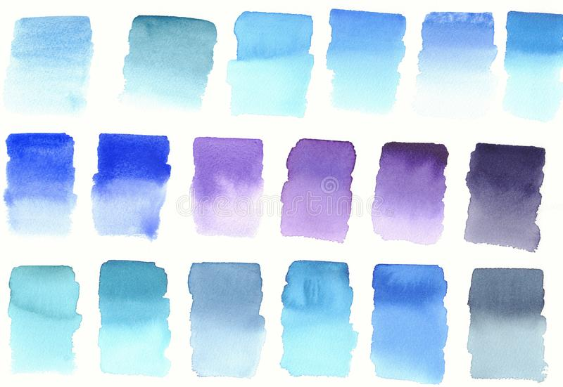 Blue colours blocks palette abstract watercolour background. Watercolour swatches vector illustration