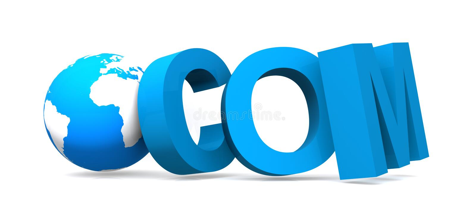 Blue com and globe. Blue com word with globe royalty free illustration