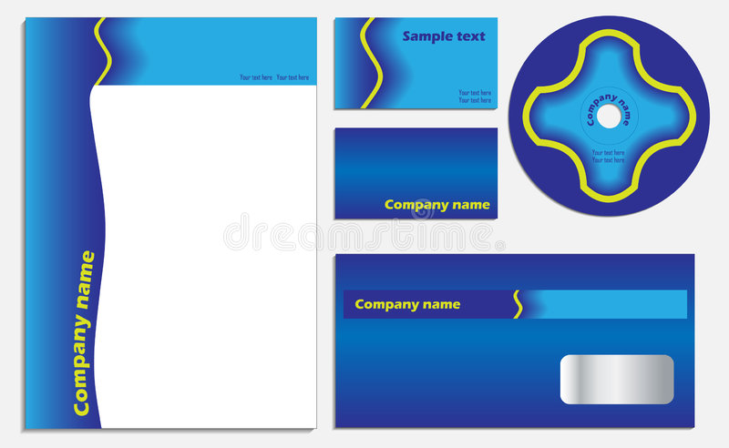 Blue Company Vector Set Royalty Free Stock Photo
