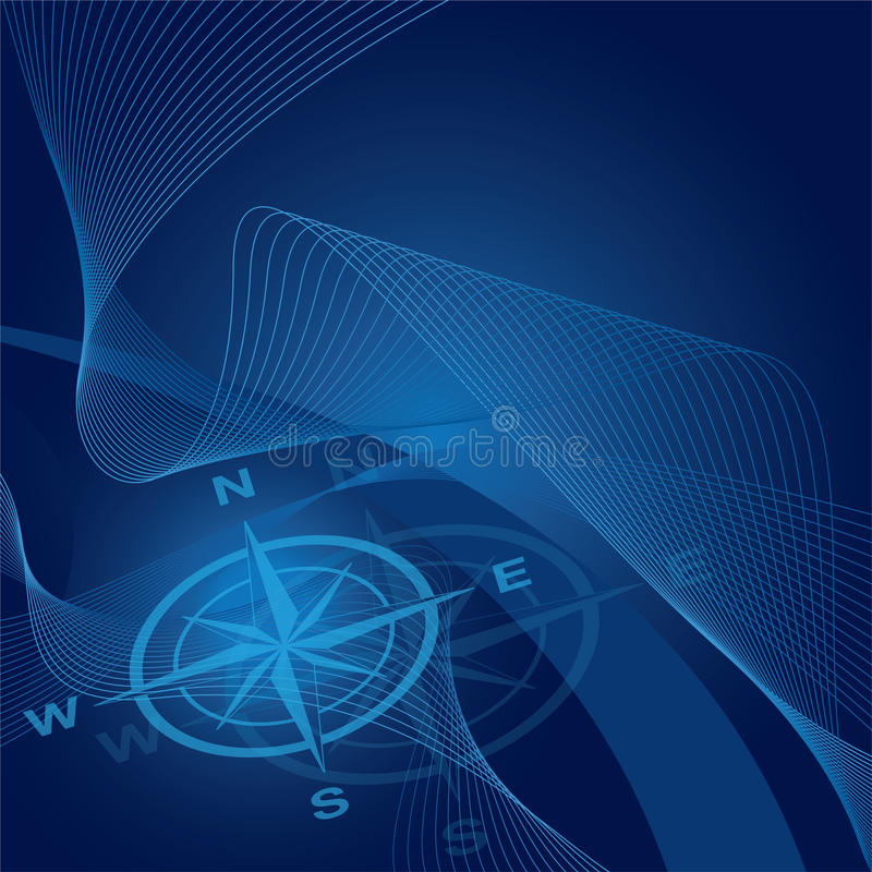 Compass on blue waves and gradient background stock photos