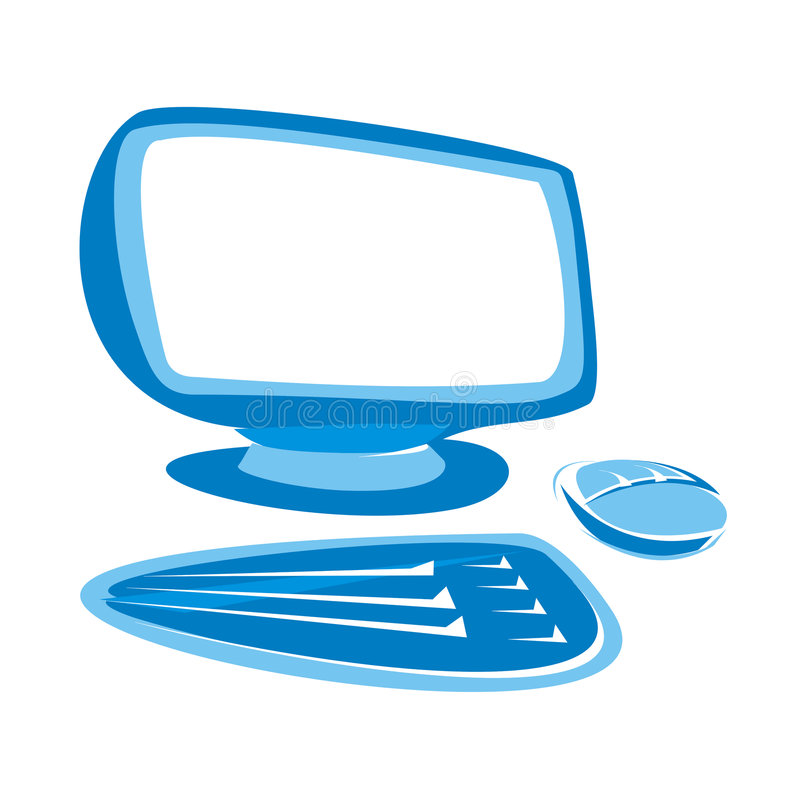 Blue computer. A blue computer monitor, keyboard and mouse stock illustration