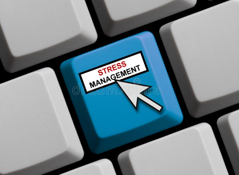 Blue Computer Keyboard showing Stress Management royalty free illustration