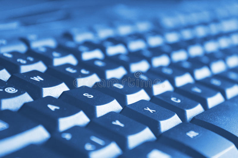 Blue computer keyboard royalty free stock images