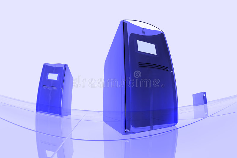 Blue computers royalty free illustration