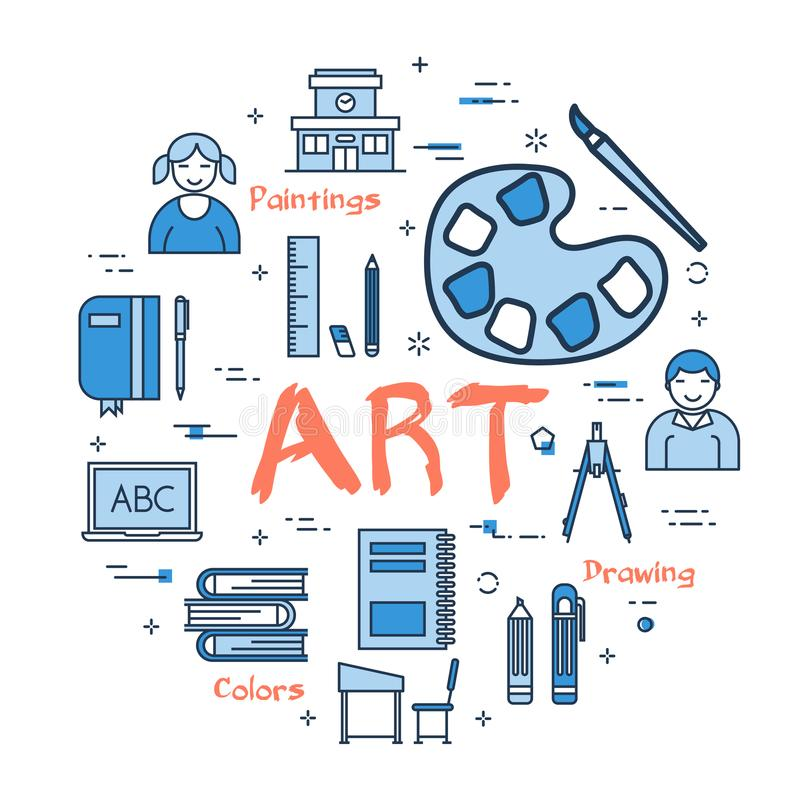 Blue concept with Art Subject. Vector linear blue round concept of Art School Subject. Line icons of painting, drawings, instruments and pupils vector illustration