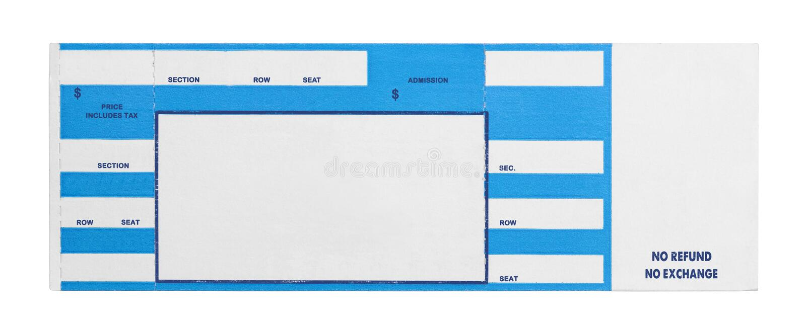 Blue Concert Ticket. Blank Blue Concert Performance Ticket Isolated on White Background stock photo